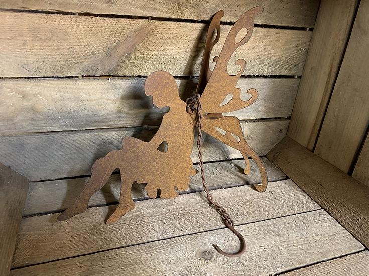 Hanging Rusty Metal Fairy