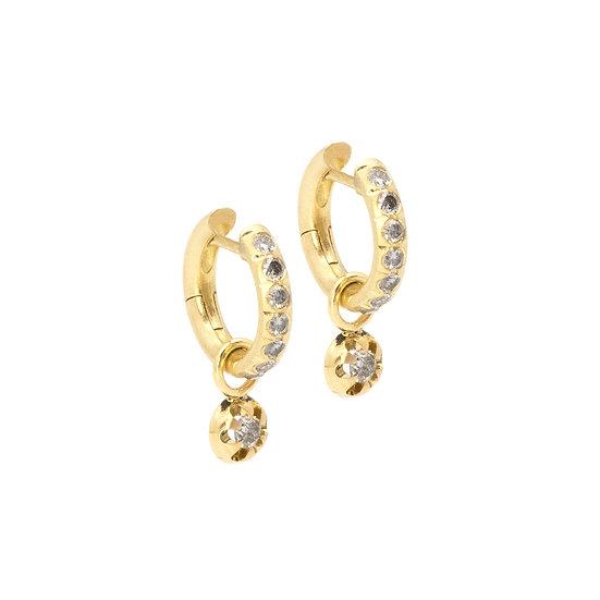 salt & pepper diamond hoop earrings with diamond pendants