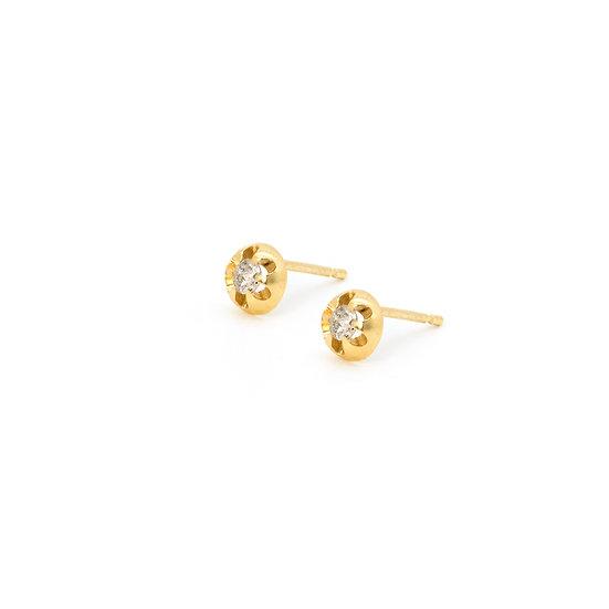 Salt & pepper diamond and gold stud earrings