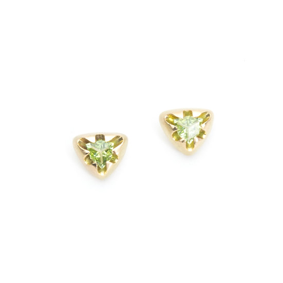 """victoria"" triangle stud earrings with tourmaline"