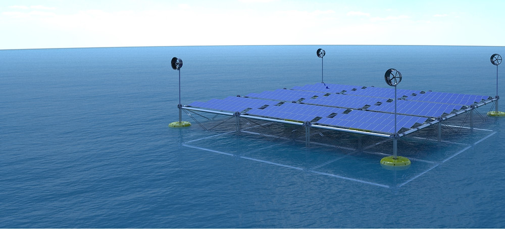 The SINN Power Ocean Hybrid Platform combines wave energy, wind energy and solar energy in one floating platform, to be installed on open sea.