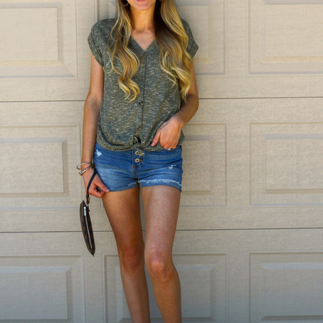 Button Down Tie Front Tee