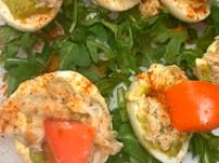 Crab & Avocado Deviled Eggs