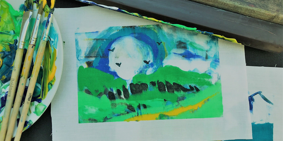 Print & Prosecco - Mono screen printing abstract landscapes ONLINE class