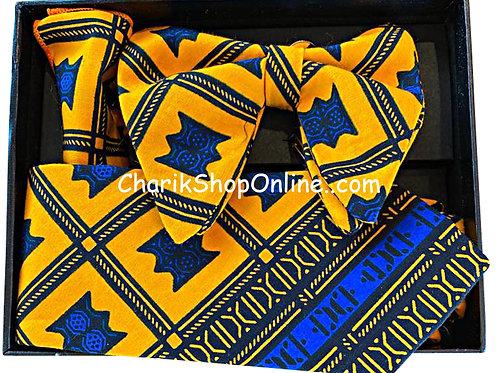 Ankara Blue Yellow Print Classic Bow Tie - handkerchief - cuff link