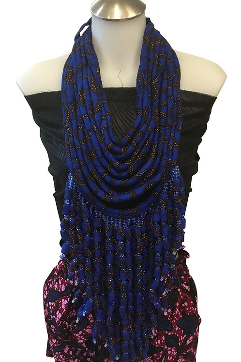 Blue African Print Fabric Long Necklace