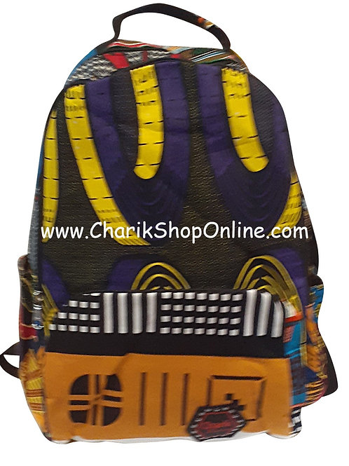 Ankara Print African Print Backpack Blue Yellow