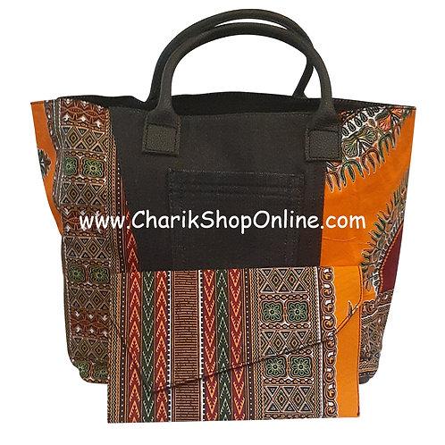 Ankara purse/ large dashiki handbag reversible denim/ Ankara bag Orange