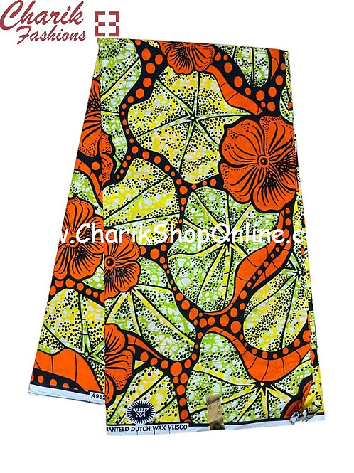 African Wax Print  6 yards/ Ankara fabric/ Orange Black Octo ankara/