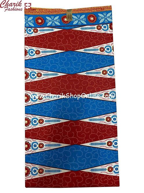 African Wax Print  6 yards/ Ankara fabric/ Blue Maroon Swirl ankara/