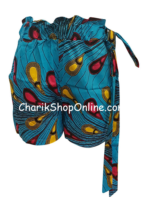 African Ankara print shorts with belt Magenta Feather