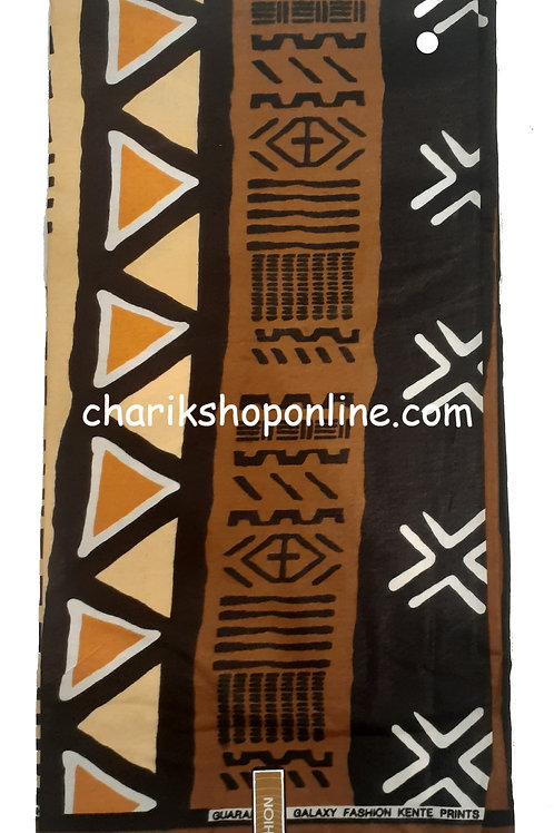 African Fabric 6 Yards/ Mudcloth Print /White X Bogolan Print