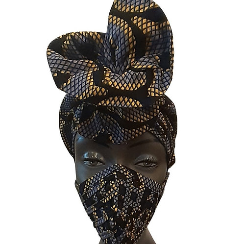 African print adult sized satin Dark Blue Bonnet with mask