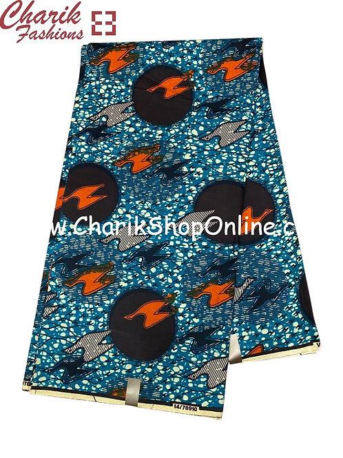 African Wax Print  6 yards/ Ankara fabric/ Grey Orange Bolt ankara/