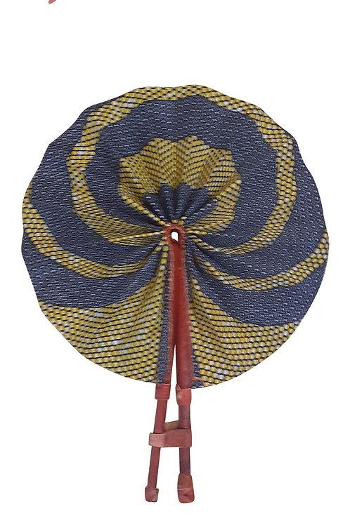 African Folding Hand Fan Blue Pearl Quality Fabri