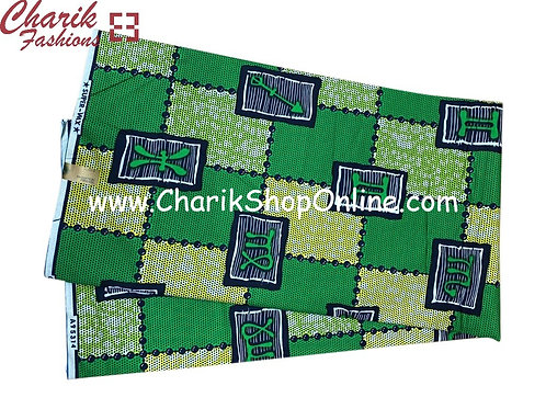 African Wax Print  6 yards/ Ankara fabric/ Green Astro ankara/