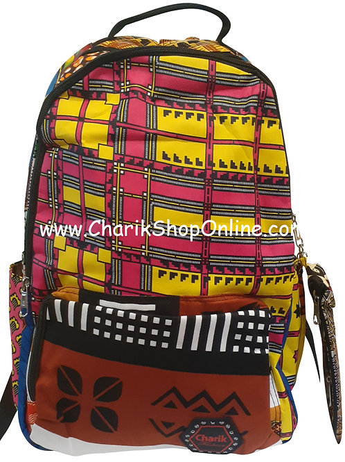 Ankara  Print African Print Backpack Magenta Yellow