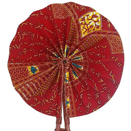 African Folding Hand Fan Red Glyph Quality Fabri