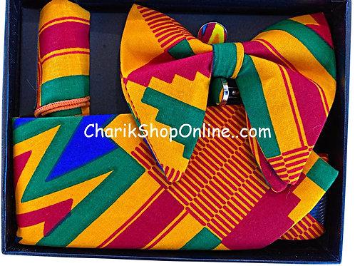 Ankara BG Kente Print Classic Bow Tie - handkerchief - cuff lin