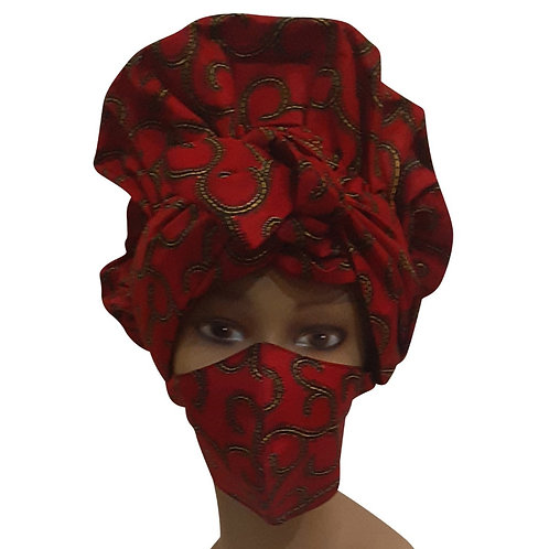 African print adult sized satin Red Bonnet With Mask