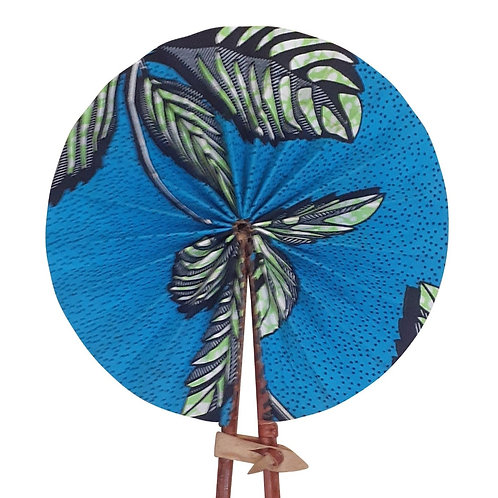 African Folding Hand Fan Blue Palms  Quality Fabri