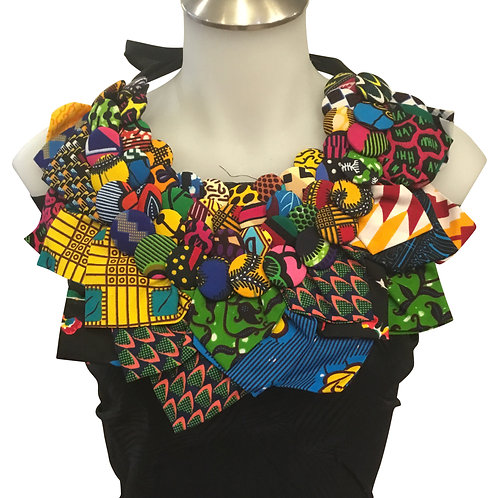 African Print Fabric Button & Leaves Bib Necklace #5