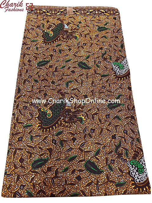 African Wax Print  6 yards/ Ankara fabric/ Forest Green ankara/