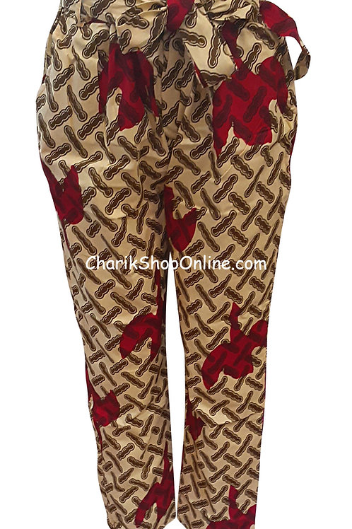 Full ElasticRed Leaf African print pants with belt