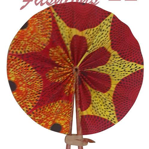 African Folding Hand Fan Magenta Floral Quality Fabri