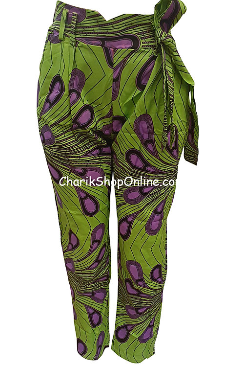 African Purple Bloom V-Cut Ankara print pants with belt
