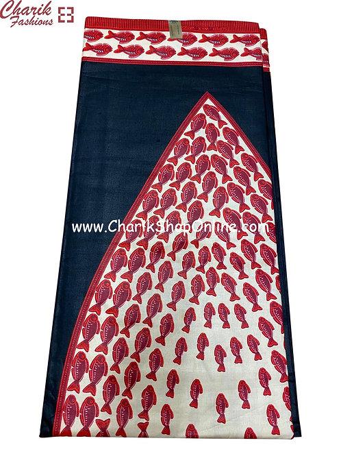 African Wax Print  6 yards/ Ankara fabric/ Red Fish ankara/