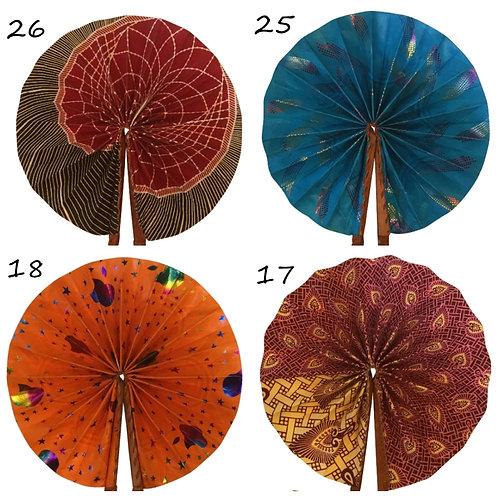 African Folding Hand Fan 5 Pack