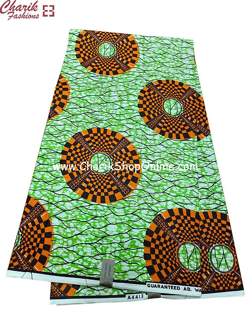 African Wax Print  6 yards/ Ankara fabric/ Black Orange Wheel ankara/