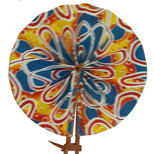 African Folding Hand Fan Yellow Red Confetti  Quality Fabri
