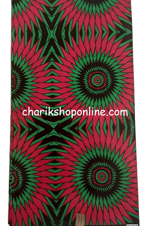 African Wax Print 6 yards/ Ankara fabric/ Magenta Green Fan ankara/