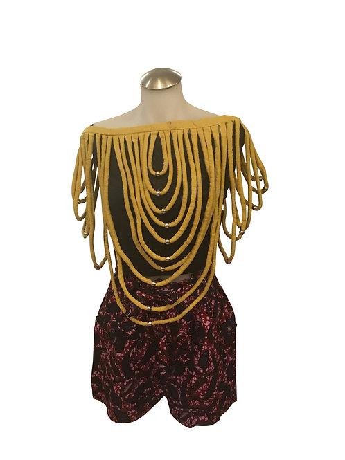 Ankara Print Short Length Over Shoulder Bib Necklace Gold