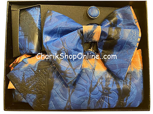 Ankara Blue Bloom Classic Bow Tie - handkerchief - cuff lin