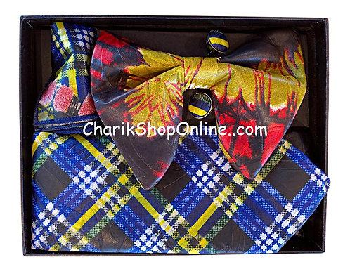 Ankara Orange Blue Plaid Classic Bow Tie - handkerchief - cuff lin