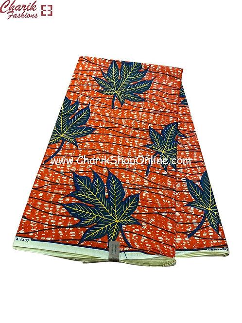 African Wax Print  6 yards/ Ankara fabric/ Blue Leaf ankara/
