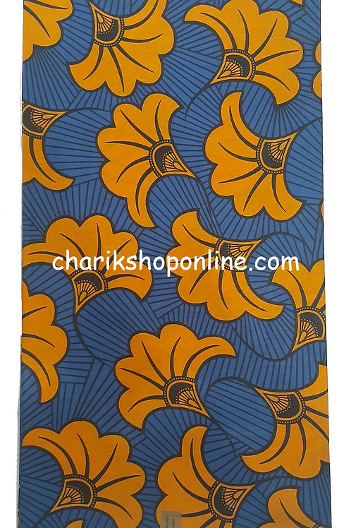 African Wax Print 6 yards/ Ankara fabric/ Blue Yellow Bloom ankara/