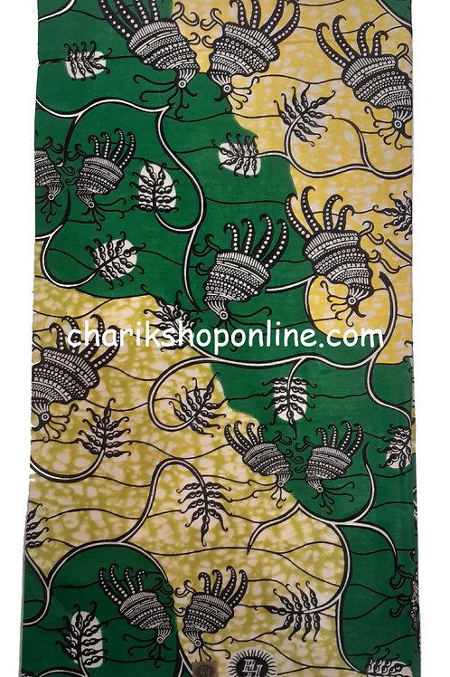 African Wax Print 6 yards/ Ankara fabric/ Green Larva ankara/