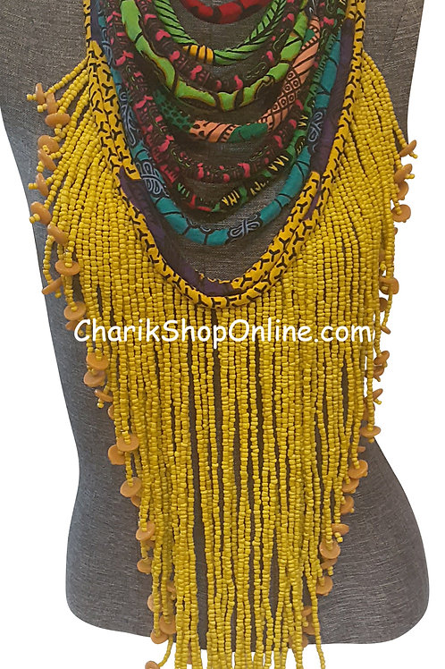 Ankara Print Full Length Beaded Statement Necklace Gold Beads
