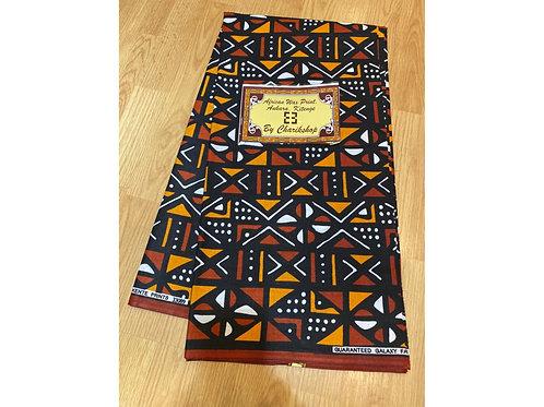 African Wax Print 6 yards/ Ankara fabric/ Orange Brown Mudcloth ankara/