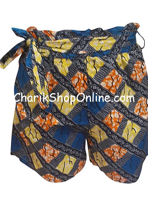 African Ankara print shorts with belt Yellow Stone