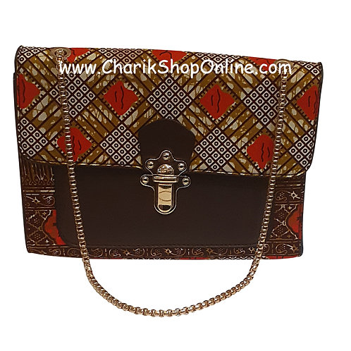 Ankara purse/ kente purse/ Ankara bag/African print bag Red Brown Check