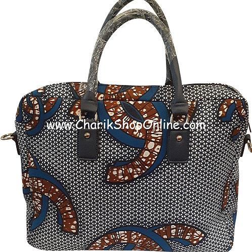 Ankara tote/ kente tote/ Ankara bag/African print bag Blue Brown