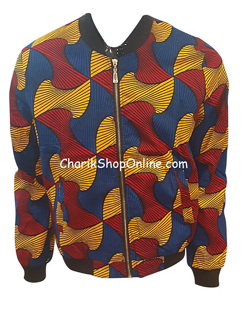 Unisex Ankara Bomber Jacket Blue Burgundy Wave