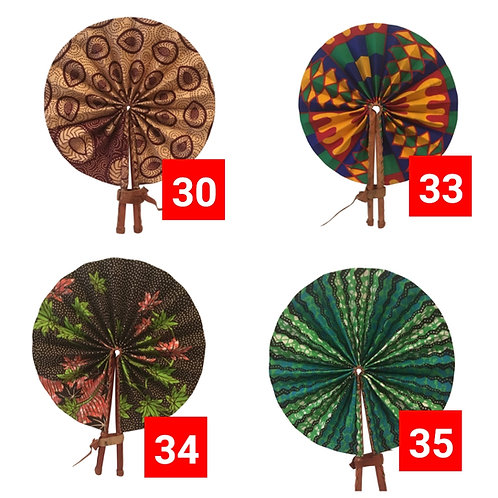 African Folding Hand Fan 3 Pack Set #1