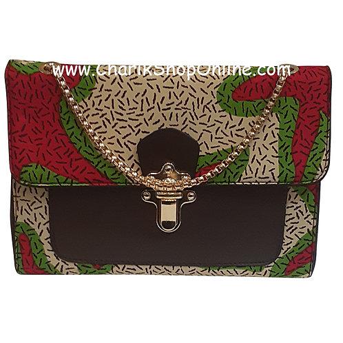 Ankara purse/ kente purse/ Ankara bag/African print bag Green Magenta
