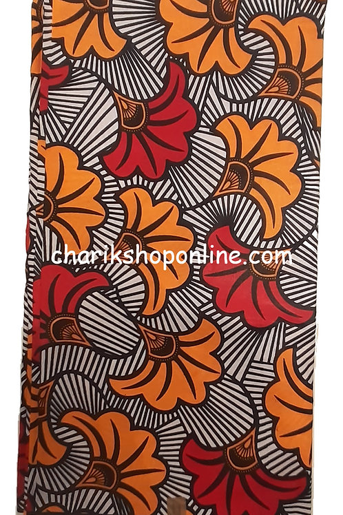 African Wax Print 6 yards/ Ankara fabric/ Orange Red Bloom ankara/